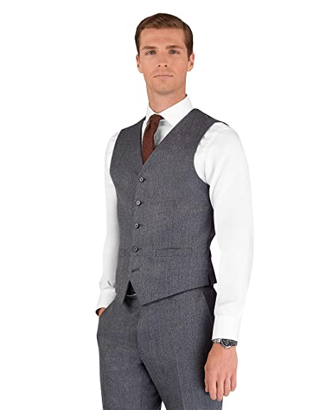 df1b061b7db T.M.Lewin Banksy Slim Fit Waistcoat in Grey Brushed Barberis Wool Twill   Amazon.co.uk  Clothing