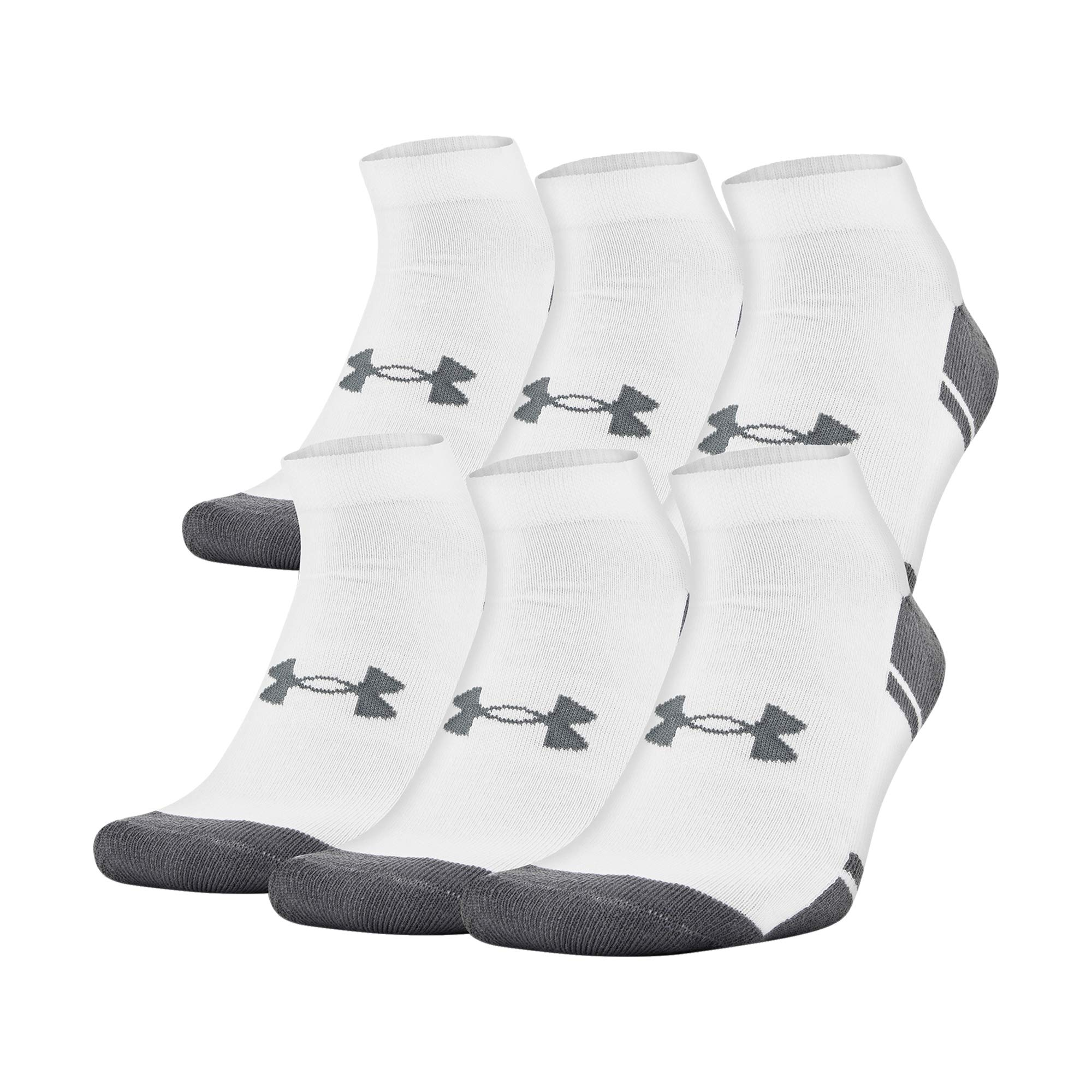 Under Armour Youth Resistor 3.0 Lo Cut Socks, 6 Pairs, White/Graphite, Shoe Size: Youth 13.5K-4Y by Under Armour