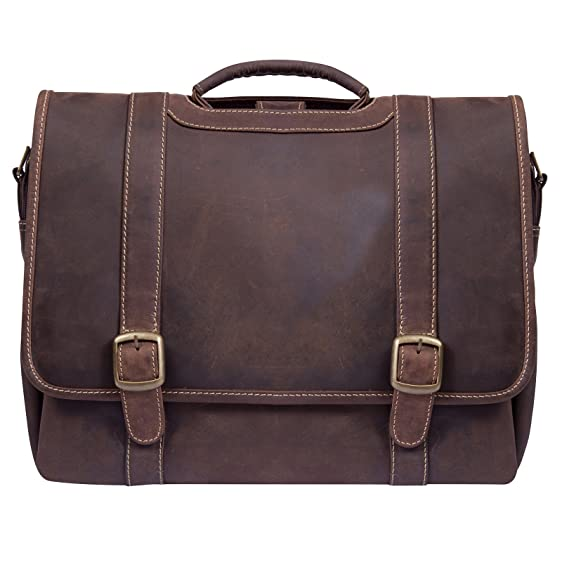 Canyon Outback Old Fort Canyon Leather Laptop Briefcase, Distressed Brown,  One Size