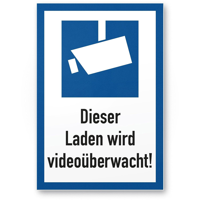 Esta carga se videoüberwacht DIN Símbolo Marco Azul (Formato Vertical pictograma)
