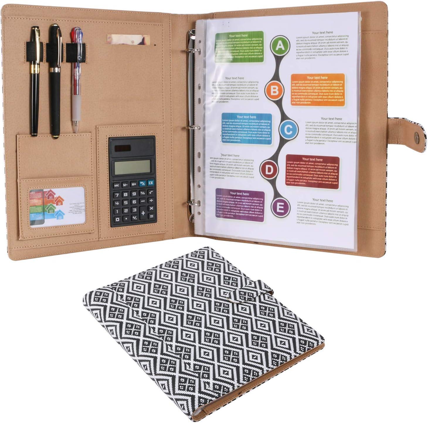 Z PLINRISE High Grade Multifunction Letter Size Padfolio//Resume Portfolio Folder-Document Organizer//Business Card Holder with Calculator and 8 File Pockets