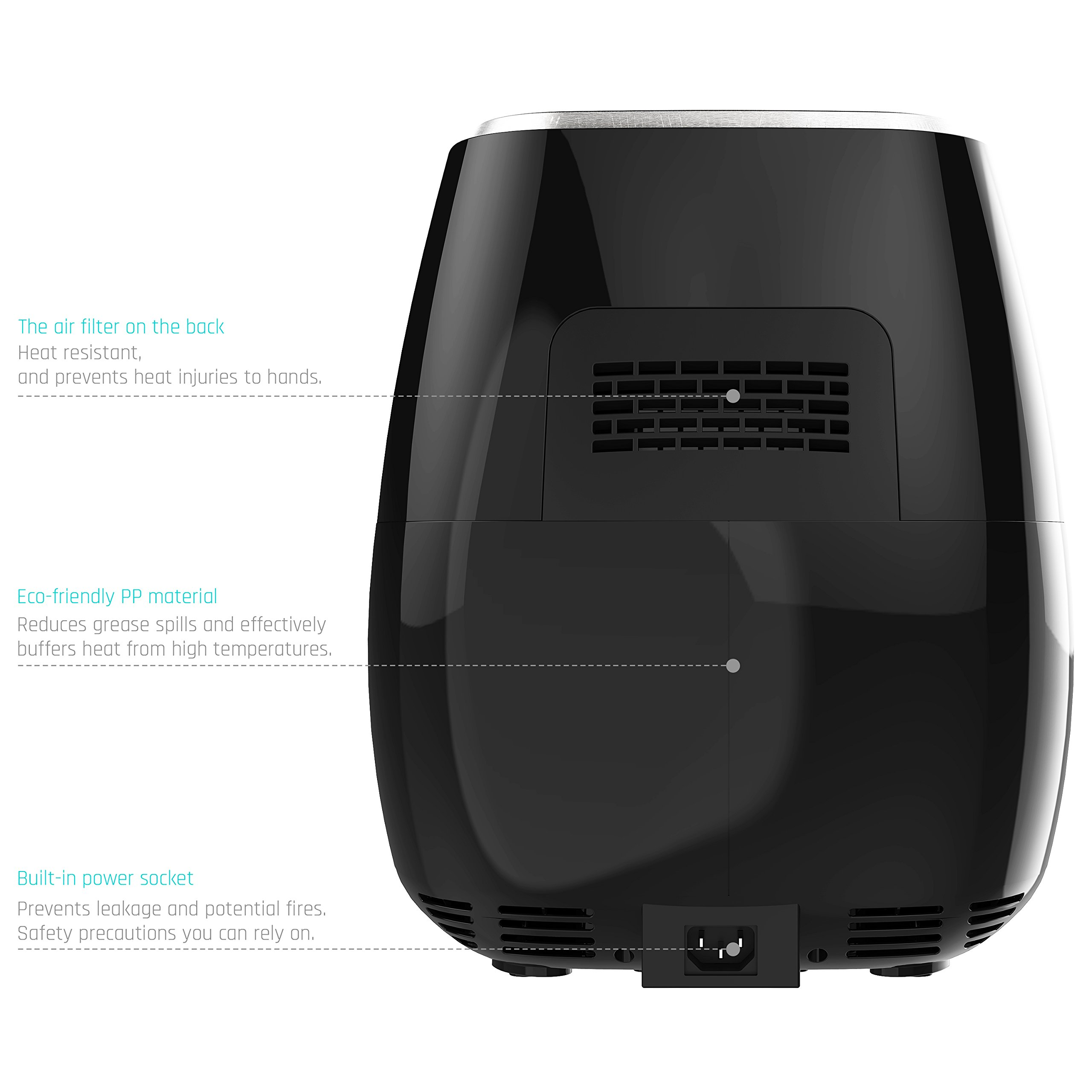 Air FryerLOVSHARE Touch Screen Control Oil Free Electric Air Fryer with Rapid Air Circulation Technology, Digital Display Smart Programs with Automatic and Manual Timer & Temperature Controls,3L by LOVSHARE (Image #7)