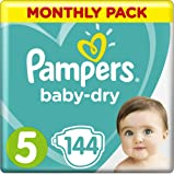 Pampers Baby-Dry Size 5, 11-16 kg, 1 Month Pack (144 diapers)