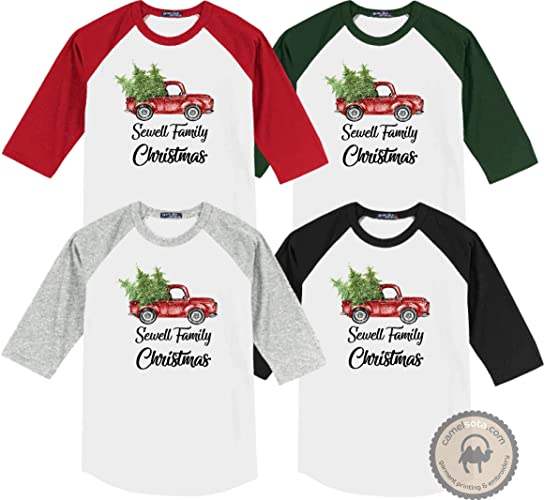 40070cc446 Family Coordinating Christmas Shirts, Personalized ... - Amazon.com