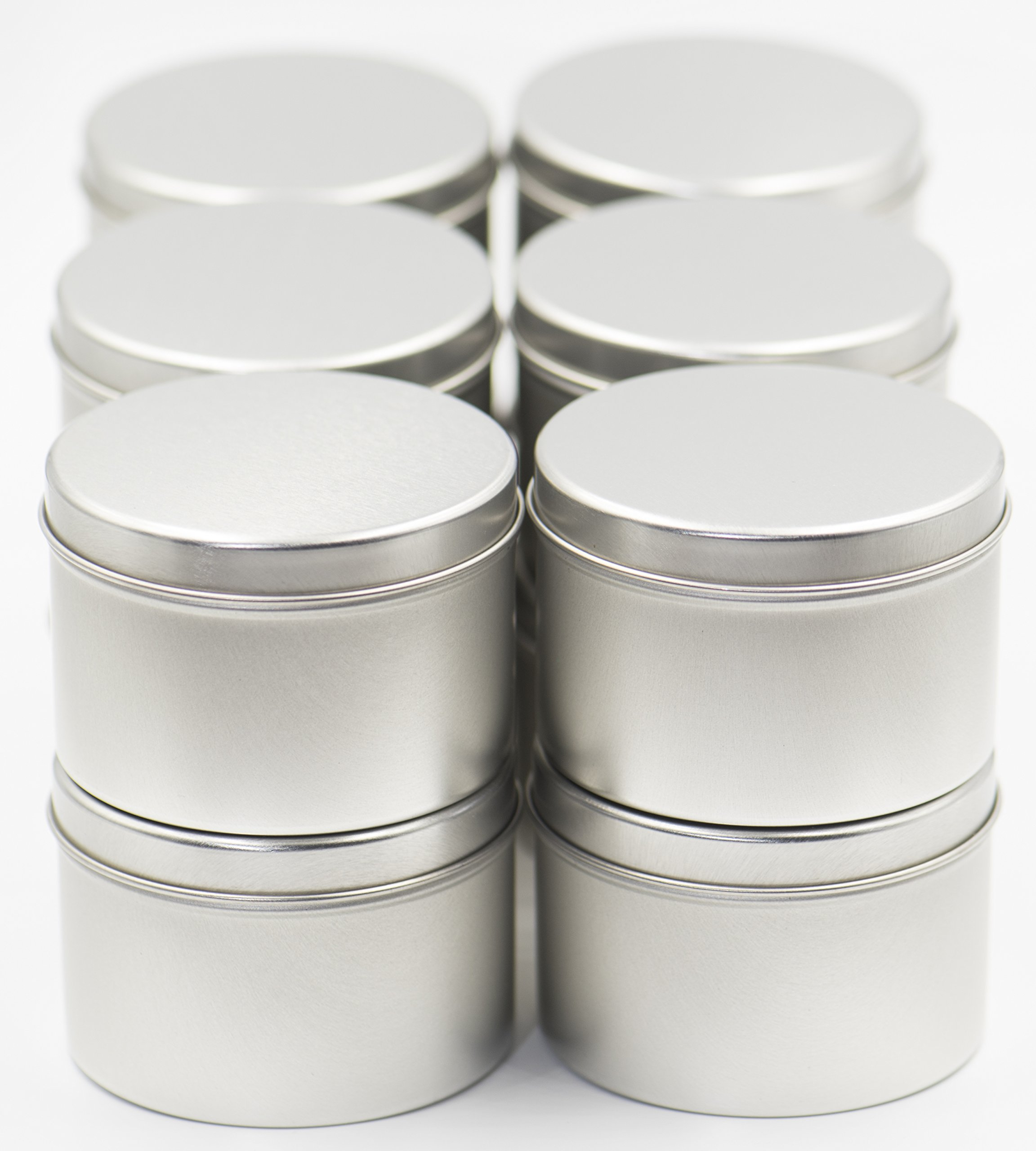8 oz 12 Pack Tin Cans with Lids for Candle Making from Omnya, Made with Steel, Round Container Tins for Candles, Spices, & DIY Projects, 8oz Can with Secure Pop-on Lid by Omnya