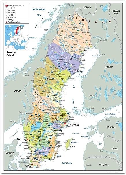 Cartina Della Svezia.Svezia Mappa Politica Carta Plastificata Ga A1 Size 59 4 X 84 1 Cm Clear Amazon It Cancelleria E Prodotti Per Ufficio