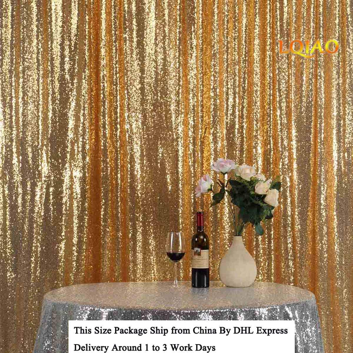 LQIAO Gold Sequin Backdrop 12×12 FT Sparkly Photography Background Photo Sequin Backdrop Curtain Wedding Events Home Shimmer Drops Decoration