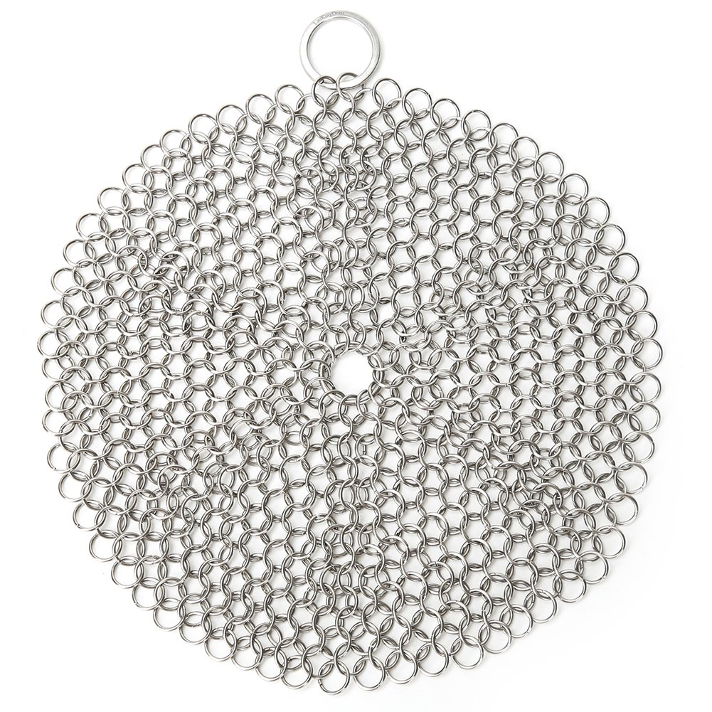 LauKingdom Cast Iron Cleaner, Anti-Rust Stainless Steel Chainmail Scrubber with Corner Ring, Round by LauKingdom