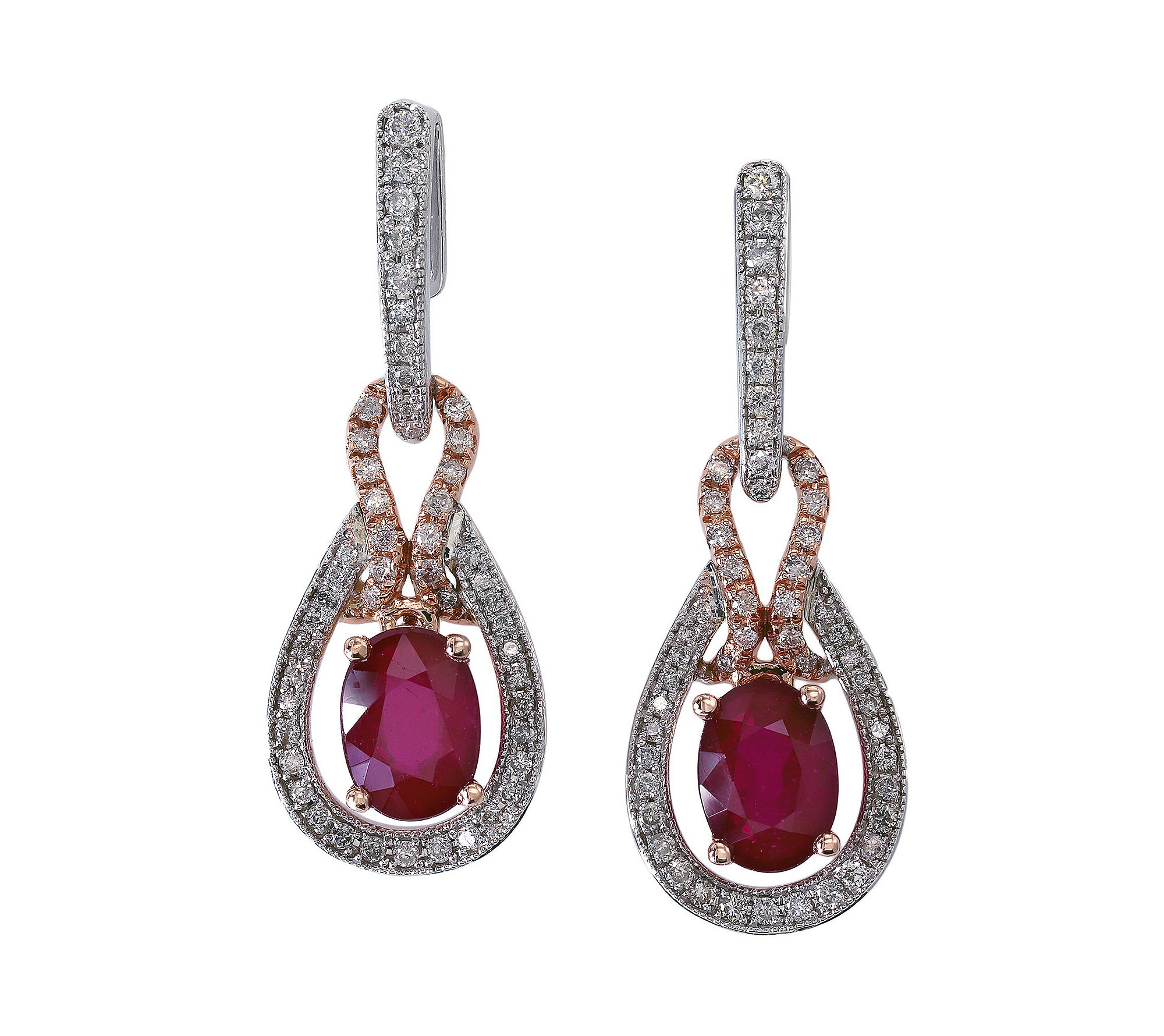 Effy Lead Glass-Filled Ruby and .40 ct. t.w. Diamond Earrings in 14K White & Rose Gold by Effy