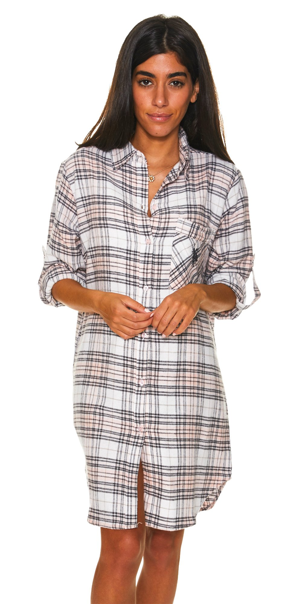 U.S. Polo Assn.. Womens Button Front Long Sleeve Cotton Pajama Sleep/Night Shirt White Large