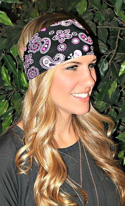 Buy Ravebandz Fashion Stretch Headbands Skull Patterns Non Slip Wide