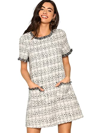 a77e6963995 Floerns Women's Tweed Short Sleeve Shift Tunic Dress with Pockets Grey XS