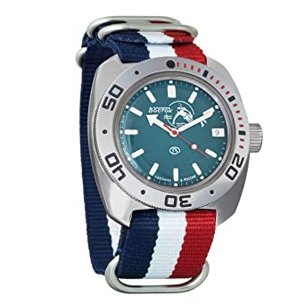 Vostok Amphibian Scuba Dude Mechanical Wrist Watch Blue and Black Dials (710059, Tricolor)