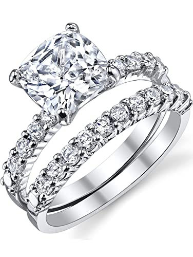 Exceptionnel Fabulous Cushion Cut Cubic Zirconia Sterling Silver 925 Wedding Engagement  Ring Band Set 5