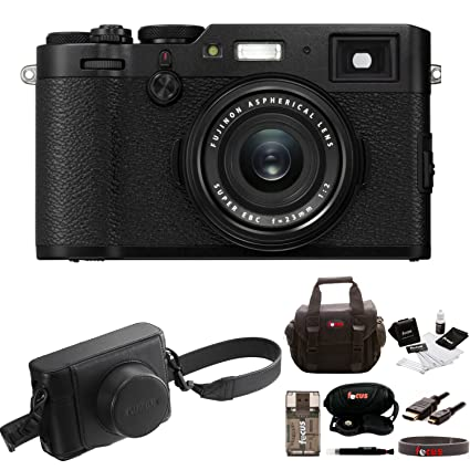 Fujifilm X100F Digital Camera (Black) w/Fuji Black Leather Case Bundle