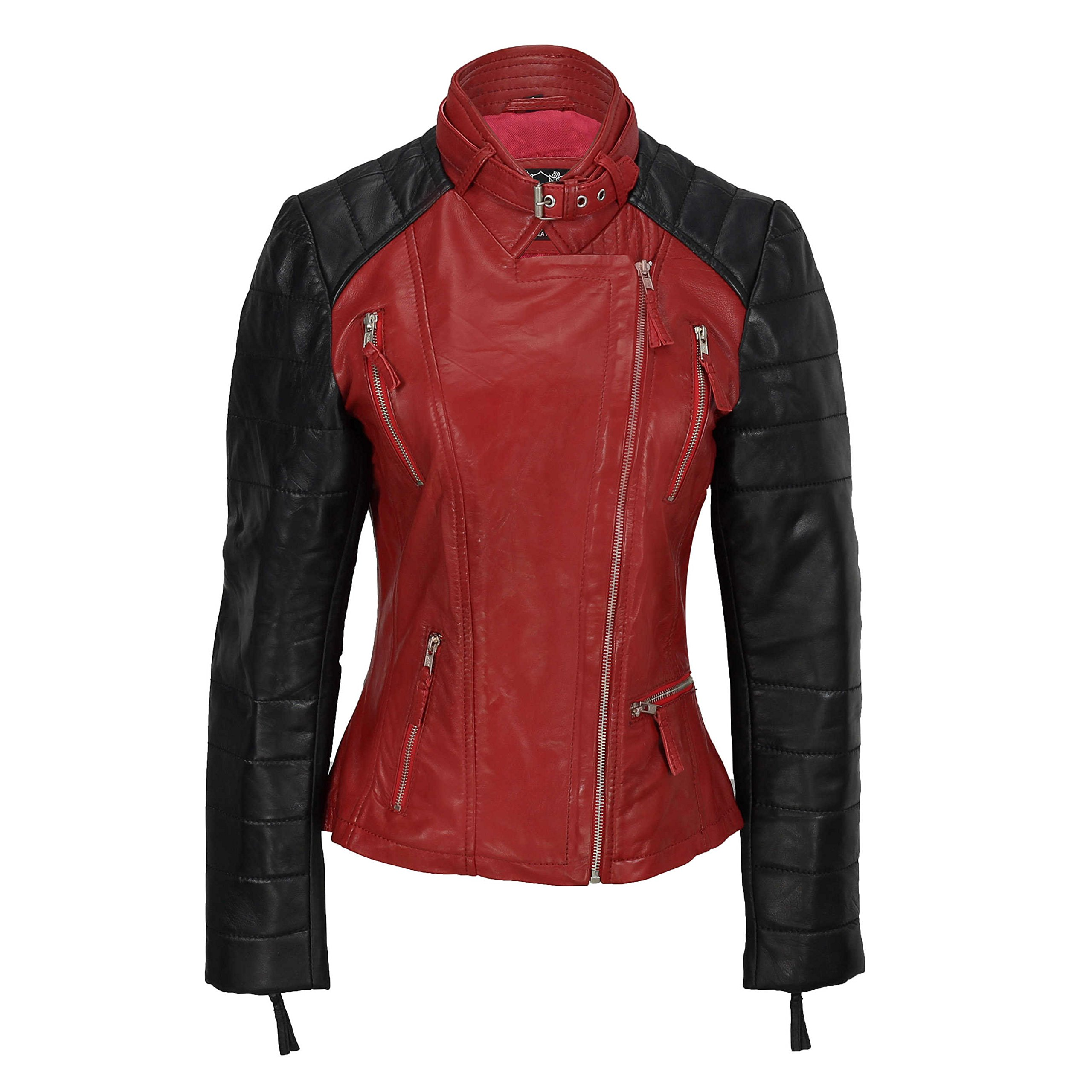 XPOSED Ladies Womens Black Red Vintage Soft Genuine Real Leather Biker Style Jacket Size Slim Fitted [Red,2XL-16]