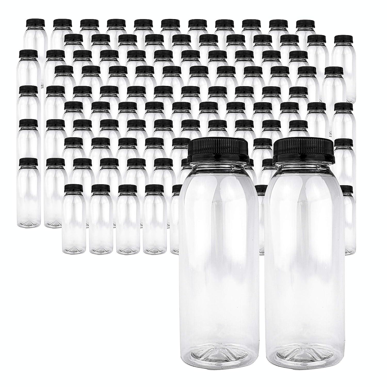 96 Pk Empty PET Plastic Juice Bottles - 8 oz Reusable Clear Disposable Milk Bulk Containers with Tamper Evident Caps (PET Plastic Juice Bottles)