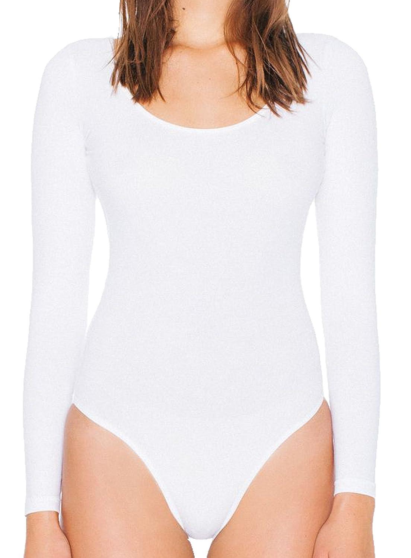 American Apparel Women's Cotton Spandex Double U-Neck Long Sleeve Bodysuit