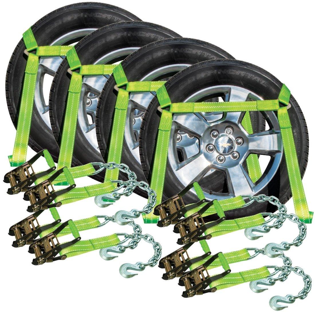 VULCAN Hi-Viz Side Rail Auto Tie Down w/Chain Anchors - 3300 lbs. SWL, 4 Pack