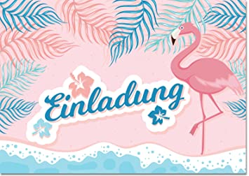 12 Einladungen Flamingo Ohne Text / Einladungskarten Kindergeburtstag Ohne  Innentext Passt Zu Geburtstag, Poolparty,