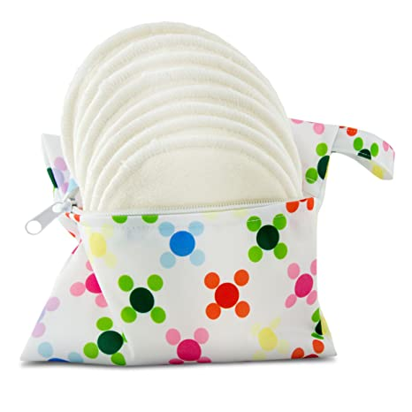 Almohadillas de lactancia de bambú orgánico lavable, pack de 8 (4 pares) con