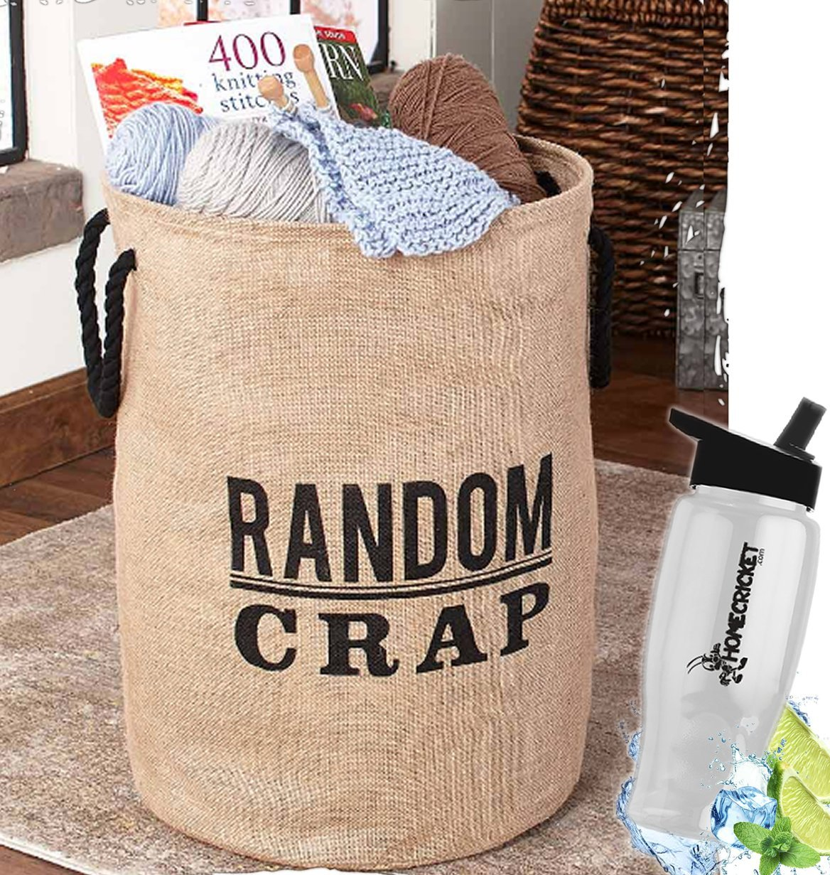 HomeCricket Gift Included- Inspirational Phrase Storage & Organization Bin with Words Random Crap + FREE Bonus Water Bottle by Home Cricket