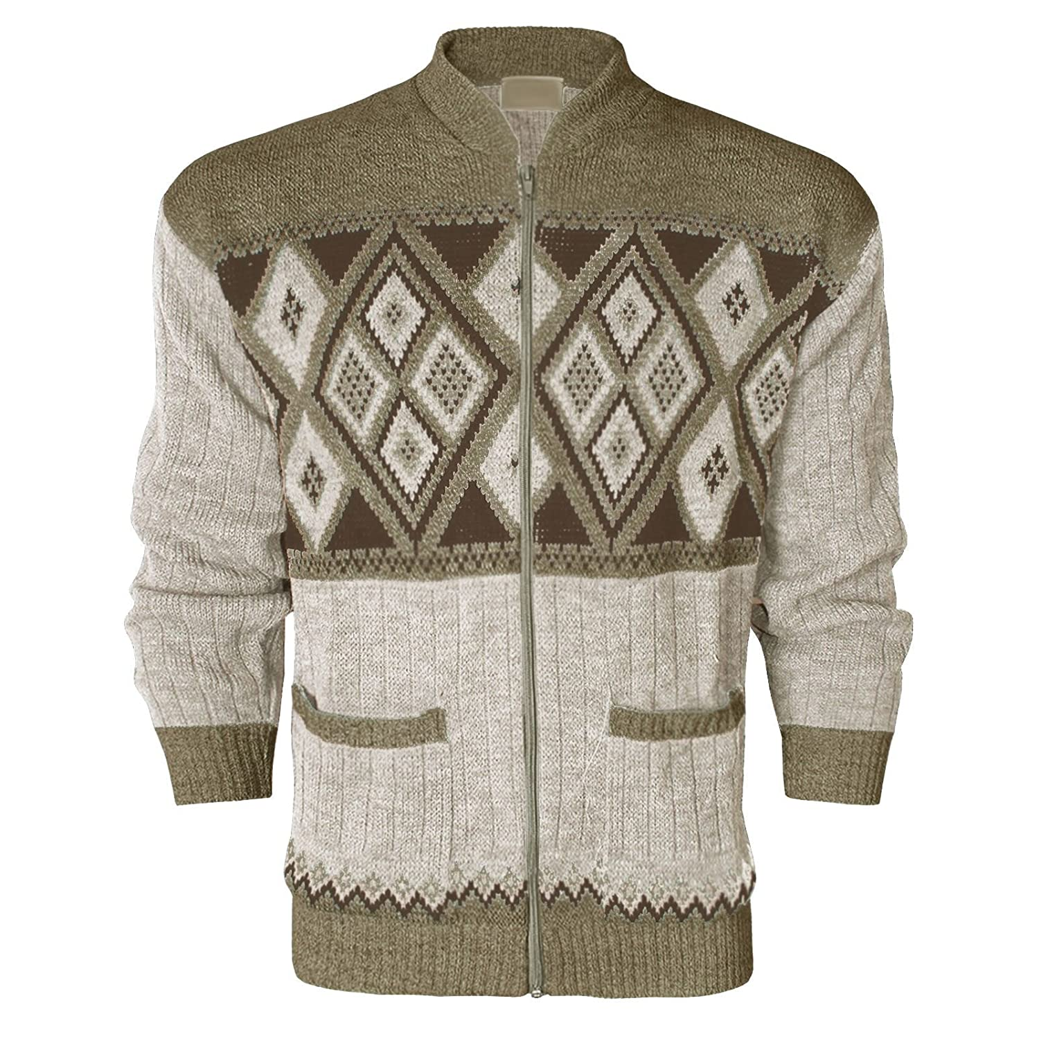 MENS GENTS ZIPPER ARGYLE DIAMOND DESIGN ZIP UP POCKET GRANDAD ...