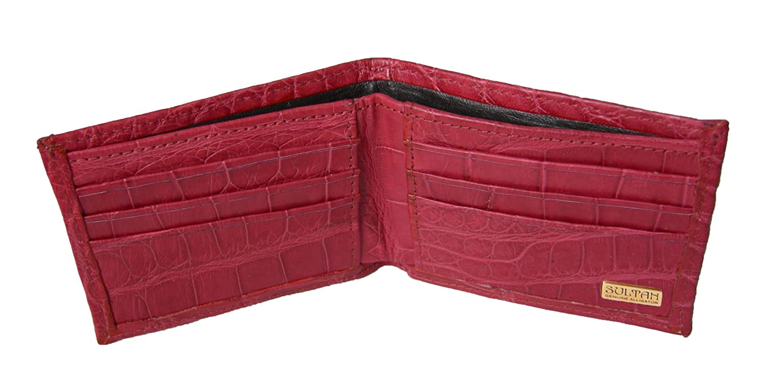 c2d1b2fbf971 Sultan Genuine Alligator Men's Bifold Wallet - Cranberry Safari  (Semi-Gloss) - One Size at Amazon Men's Clothing store: Credit Card Holders
