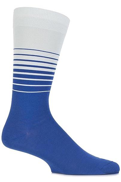 Richard James hombre 1 par Karoo Graded cebra rayas calcetines de algodón Azul ultramarino