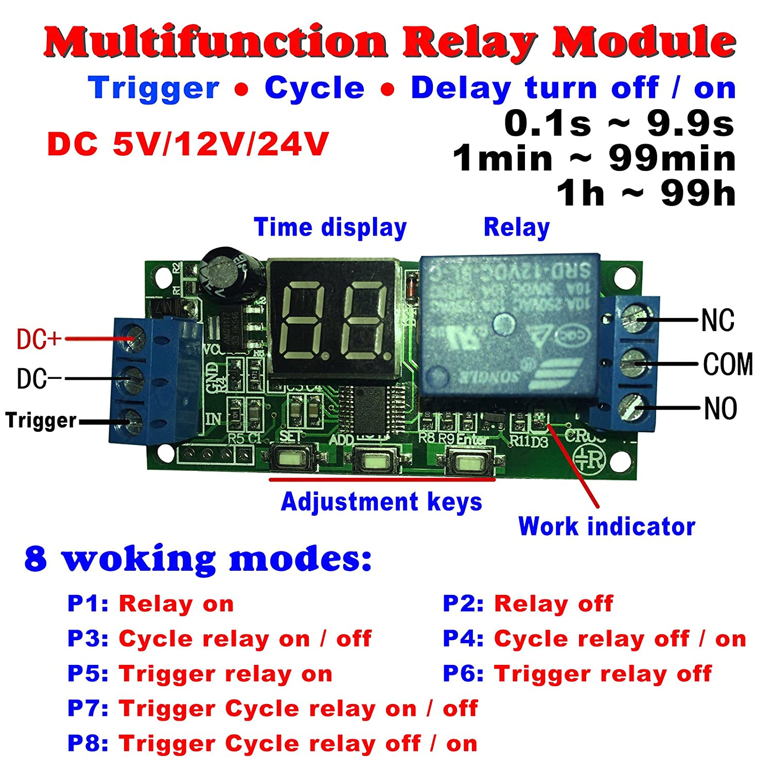 Qianson DC 5V 12V 24V Digital LED Display Infinite Cycle Delay Timer Switch  ON/OFF Relay Module (DC 12V) - - Amazon.com