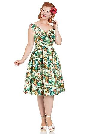 2e3ff04f66a16 Voodoo Vixen Dana Tropische Retro 50er Jahre Pin-Up Kleid: Amazon.de ...