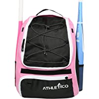 Athletico Softball Bat Bag - Backpack for Softball, Baseball, T-Ball Equipment & Gear for Kids, Youth, and Adults | Holds Bat, Helmet, Glove, Shoes | Separate Shoe Compartment, Fence Hook (Pink)