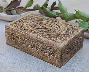 Egyptian Eye of Horus Hand Carved Jewelry Trinket Keepsake Wooden Storage Box (Large)