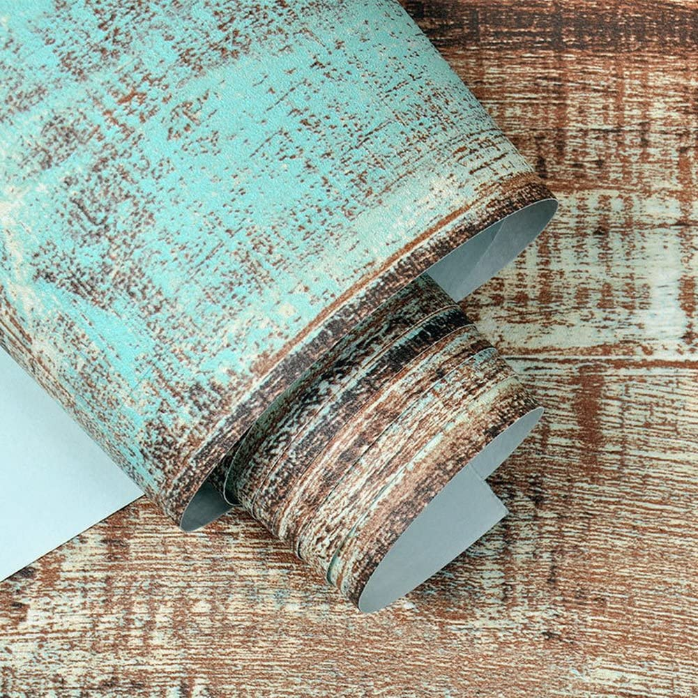 "Crazy Cart Retro Brown Imitation Wood Grain Wallpaper for Home Bar Wall Decoration 20.8"" x 393.7"""