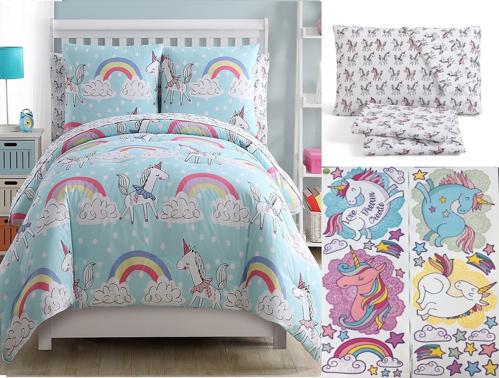 Children's Magical Rainbow Unicorn 7pc FULL Size Comforter & Sheet Set '+ 36pc Wall Decals by Rainbow Unicorn