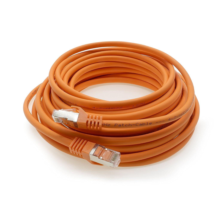 Cable Ethernet Cat7 Cat.7 Gigabit Cable de Red LAN con Conector Cat6a RJ45 (con Doble blindaje) 500 MHz Naranja: Amazon.es: Electrónica