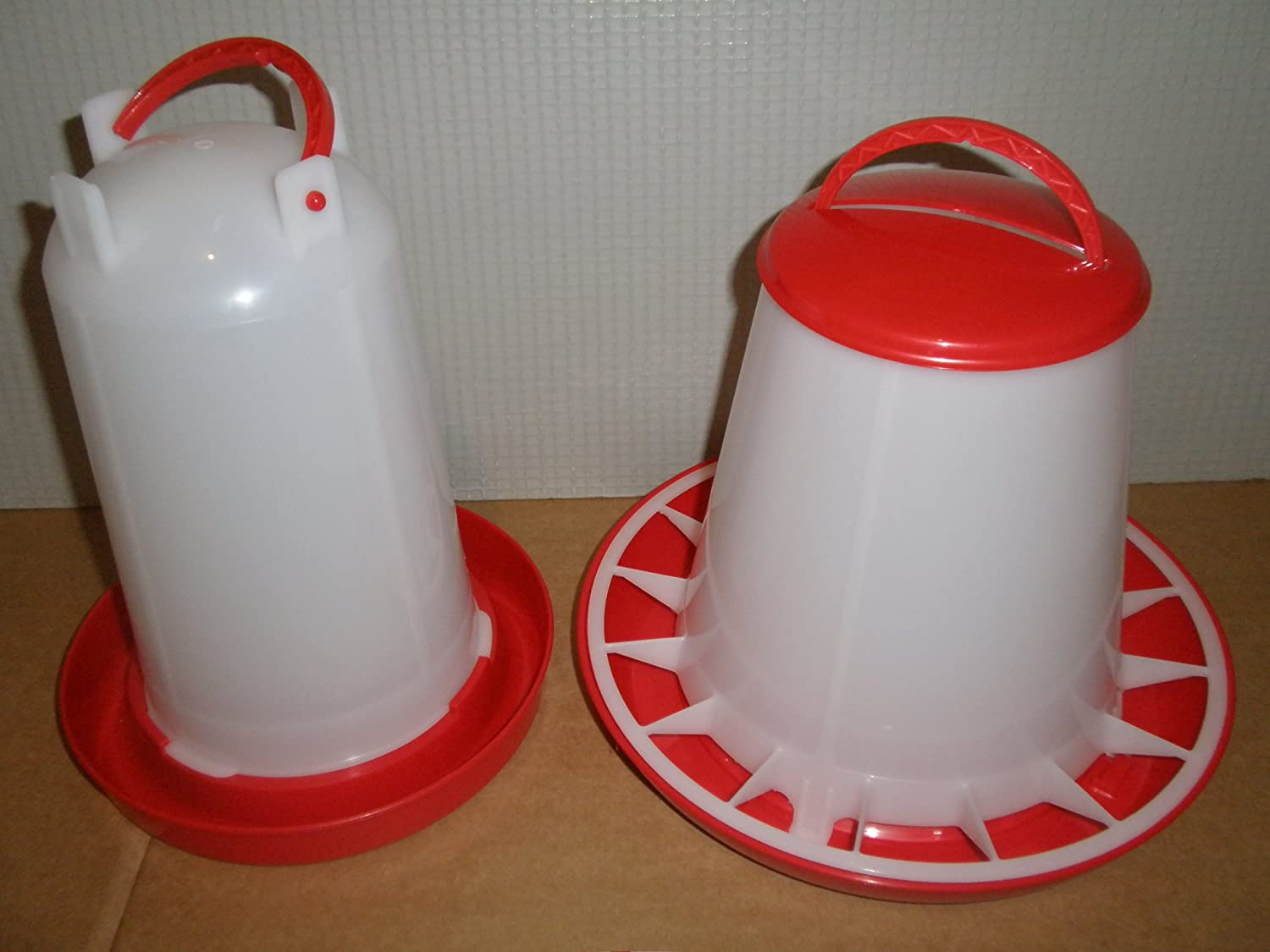3 kg Plastic poultry chicken feeder & 3 litre plastic poultry drinker set UK Cake Craft Supplies