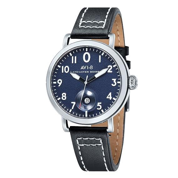 AVI-8 AV-4020-03 - Reloj cronógrafo de cuarzo para hombre con esfera analógica azul y correa de cuero negra: Amazon.es: Relojes