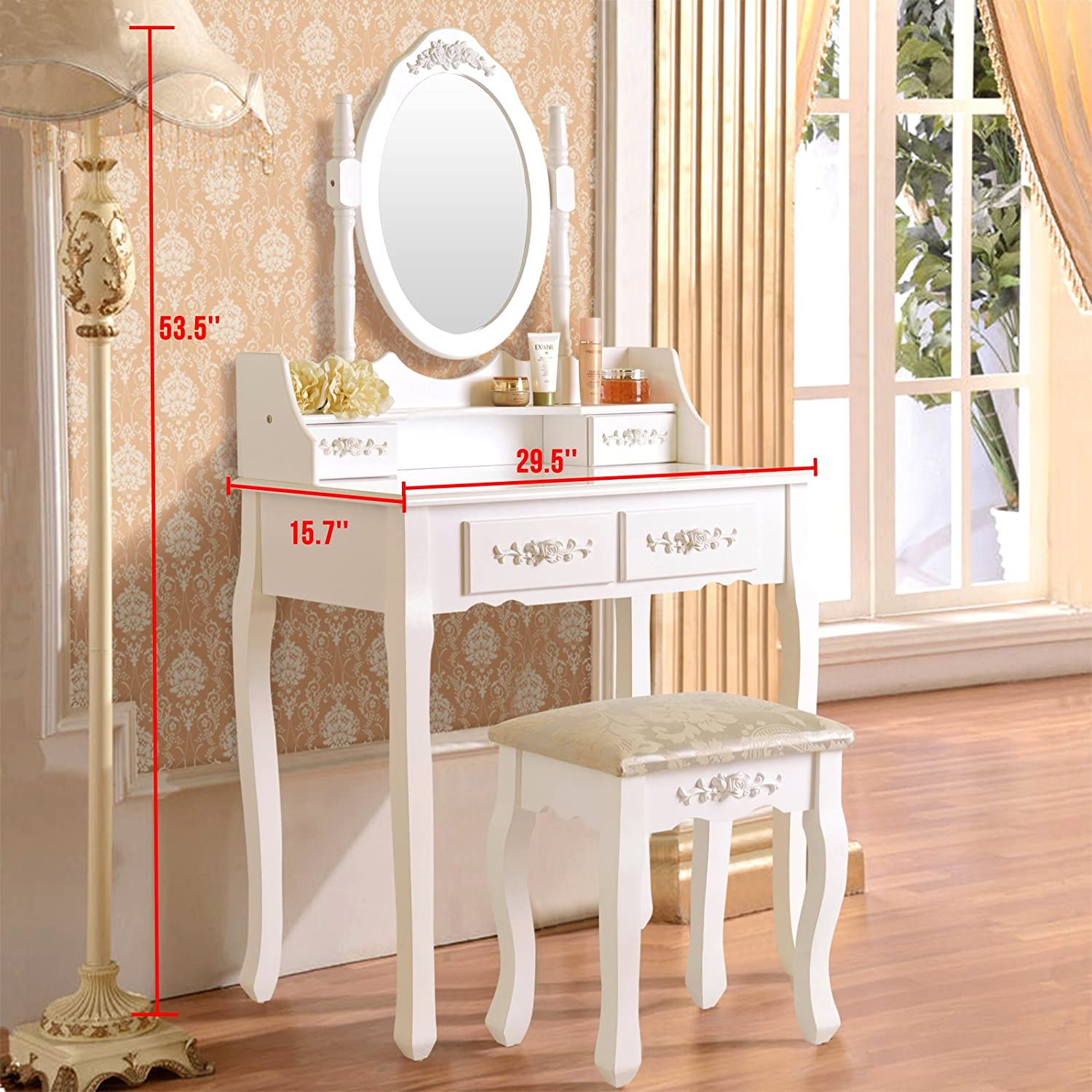 Bedroom furniture dressing table stools - Amazon Com Elegance Vanity Makeup Table Set 4 Strawers Dressing Table With Stool White Kitchen Dining