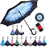 HOSA Auto Open Reverse Inverted Umbrella Night Safety Reflective Strips, UV Protection Double Layer Windproof Canopy…