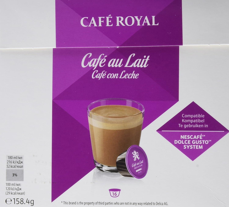 Café Royal Café au Lait 64 cápsulas compatibles con Nescafé* Dolce Gusto* (Pack de 4 x 16 cápsulas): Amazon.es: Alimentación y bebidas