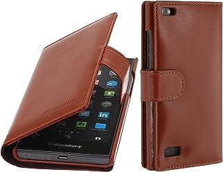 StilGut Talis, Custodia in Vera Pelle per Blackberry Leap con Scomparti per Carte di Credito, Biglietti da Visita e Banconote, Cognac