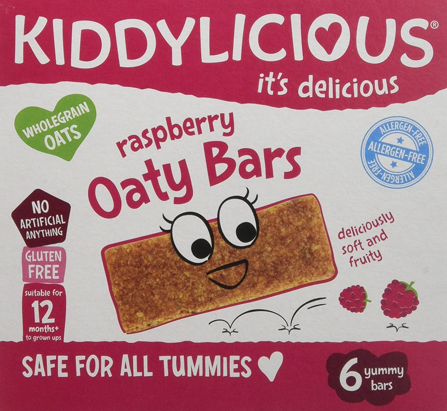 Kiddylicious Raspberry Oaty Bars, 6 x 20 g, (Pack of 6, Total 36 Bars) The Kids Food Co. 1080110