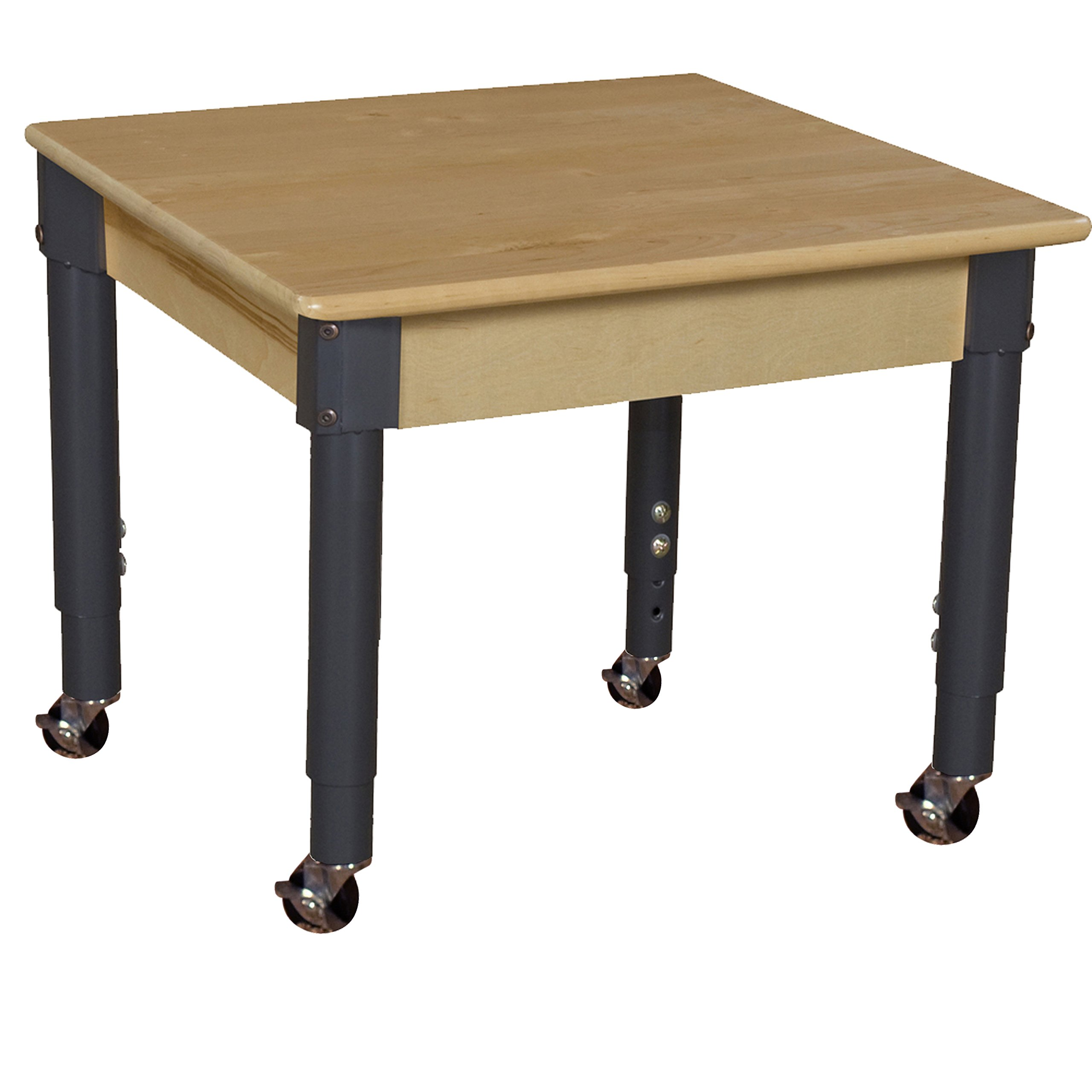 Wood Designs WD824A1217C6 Mobile 24'' Square Hardwood Table with 14''-19'' Adjustable Legs