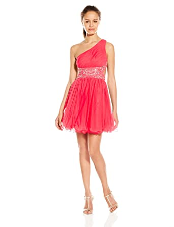 Amazon.com: Blondie Nites Juniors Asymmetry Short Prom Dress with Mesh Skirt: Clothing