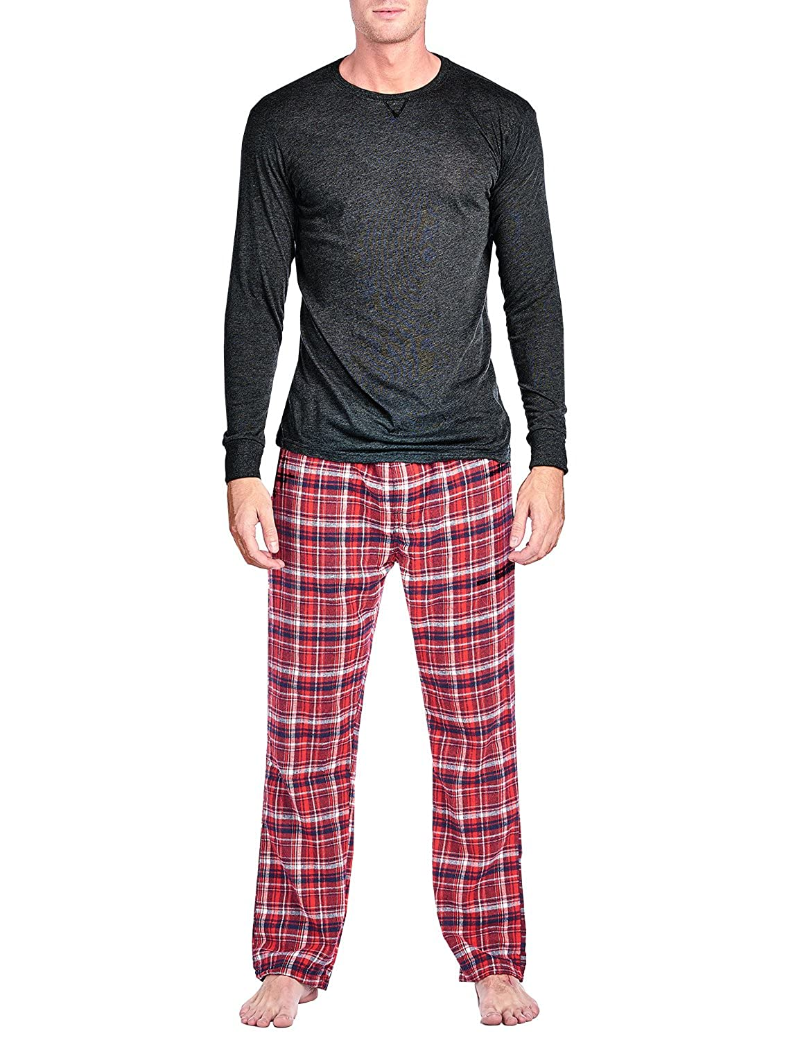 Ashford & Brooks Mens Flannel Long-Sleeve Top and Flannel Bottom Pajama Set AB86200FP