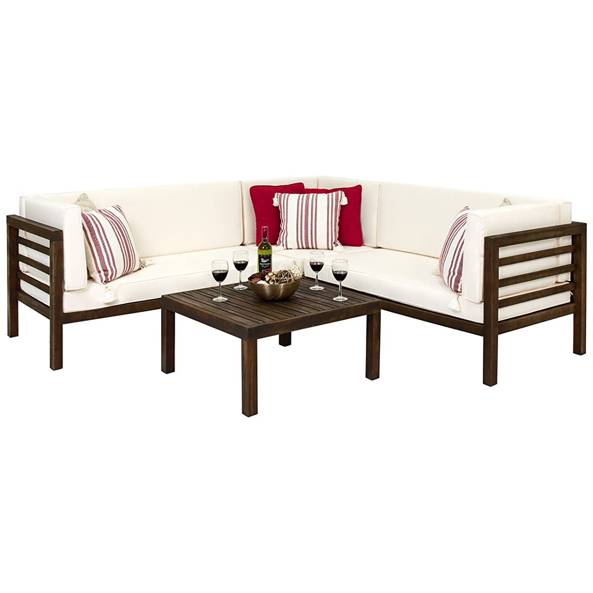 Best Choice Products 4-Piece Acacia Wood Outdoor Patio Sectional Sofa Set w/Water Resistant Cushions, Table - Espresso