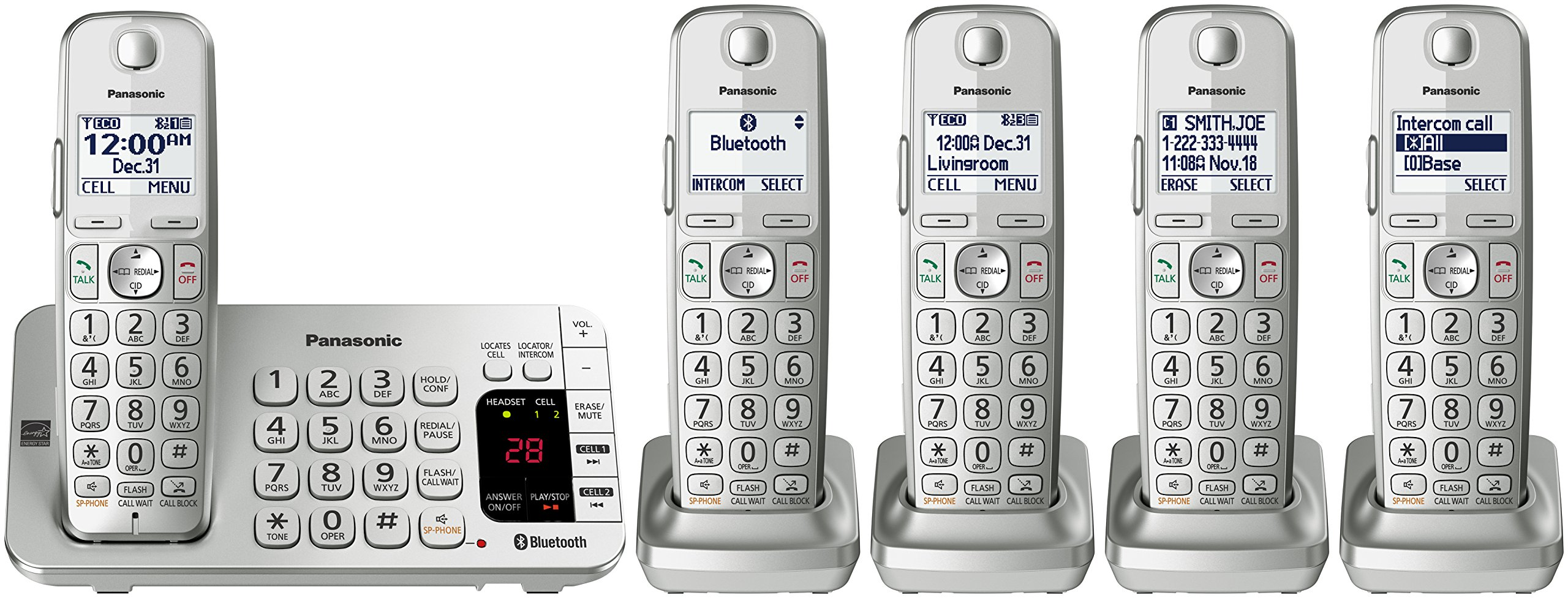 Panasonic KX-TGE475S Link2Cell Bluetooth Cordless Phone with Answering Machine- 5 Handsets by Panasonic