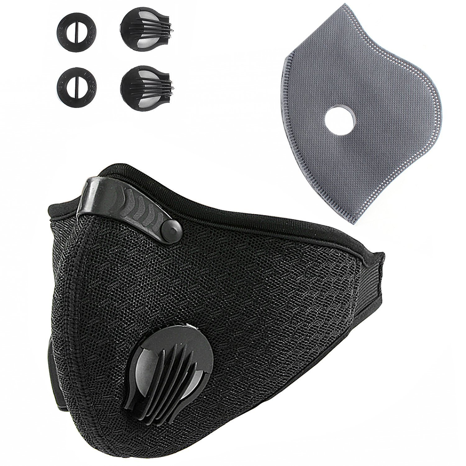 Unigear Activated Carbon Dustproof/Dust Mask - with Extra Filter Cotton Sheet and Valves for Exhaust Gas, Pollen Allergy, PM2.5, Running, Cycling, Outdoor Activities