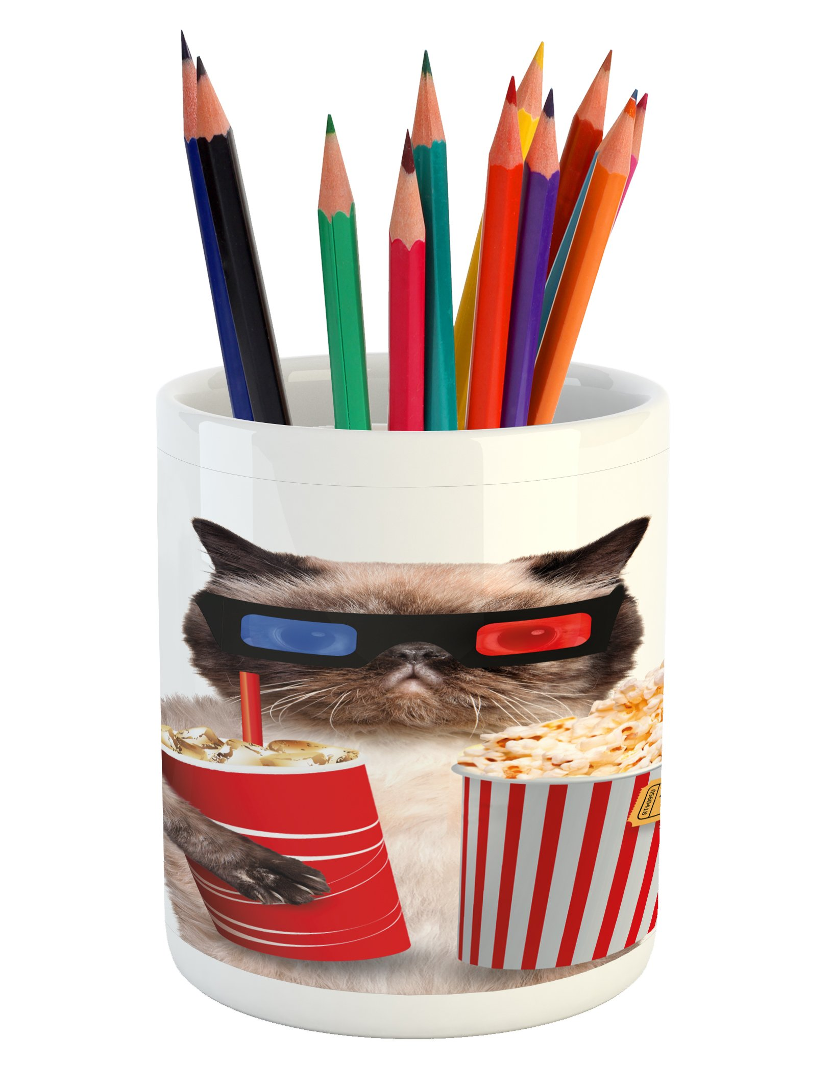 Ambesonne Movie Theater Pencil Pen Holder, Cat with Popcorn and Drink Watching Movie Glasses Entertainment Cinema Fun, Printed Ceramic Pencil Pen Holder for Desk Office Accessory, Multicolor